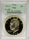 Proof Eisenhower Dollars: , 1974-S $1 Silver PR66 PCGS. PCGS Population (132/273). NGC Census:(6/94). Mintage: 1,306,579. Numismedia Wsl. Price for NG...