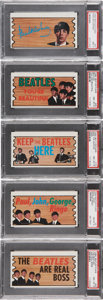 Non-Sport Cards:Lots, 1964 Topps Beatles Plaks PSA-Graded Group of (5). ...
