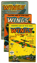 Golden Age (1938-1955):War, Wings Comics #3, 4 and 5 Group (Fiction House, 1940-41) Condition:Average GD.... (Total: 3 Comic Books)