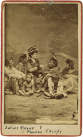 American Indian Art:Photographs, JULIUS MEYER AND PAWNEE CHIEFS. c. 1869. ...