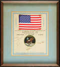 Explorers:Space Exploration, Apollo 11 Flown American Flag, Crew-Signed on PresentationCertificate....
