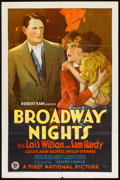 "Movie Posters:Drama, Broadway Nights (First National, 1927). One Sheet (27"" X 41"") StyleB. Drama.. ..."