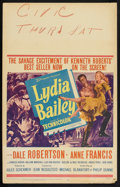 "Movie Posters:Adventure, Lydia Bailey (20th Century Fox, 1952). Window Card (14"" X 22"").Adventure.. ..."