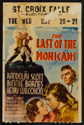 "Movie Posters:Adventure, The Last of the Mohicans (United Artists, 1936). Window Card (14"" X21""). Adventure.. ..."
