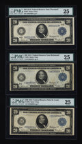 Large Size:Group Lots, Three $20 1914 Federal Reserve Notes PMG Very Fine 25.. ... (Total: 3 notes)