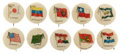 "Non-Sport Cards:Lots, Circa 1900 PE7-6 ""National Flags"" Pin Backs Collection (50)...."