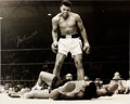 Boxing Collectibles:Autographs, Muhammad Ali Signed Oversized Photo Over Sonny Liston. ...