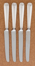 Silver Flatware, American:Tiffany, A SET OF FOUR AMERICAN SILVER DINNER KNIVES. Tiffany & Co., NewYork, New York, circa 1871. Marks: TIFFANY & CO.,STERLING...
