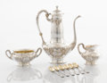 Silver Holloware, American:Coffee Pots, AN AMERICAN SILVER COFFEE POT, CREAMER, SUGAR AND SIX SILVER ANDSILVER GILT DEMITASSE SPOONS. Gorham Manufacturing Co., Pro...