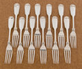 Silver Flatware, American:Wood & Hughes, A SET OF TWELVE AMERICAN COIN SILVER DINNER FORKS. Wood &Hughes, New York, New York, circa 1850. Marks: WOOD &HUGHES. ... (Total: 12 Items)