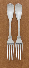 Silver & Vertu:Flatware, A PAIR OF AMERICAN COIN SILVER DINNER FORKS. Gorham & Co., Providence, Rhode Island, circa 1852-1865. Marks: GORHAM & CO.,... (Total: 2 Items)