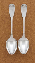 Silver Flatware, American:Tiffany, A PAIR OF AMERICAN SILVER SOUP SPOONS. Tiffany & Co., New York,New York, circa 1871. Marks: TIFFANY & CO, STERLING, PAT1... (Total: 2 Items)