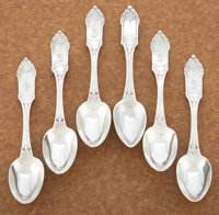 A SET OF SIX AMERICAN COIN SILVER TEASPOONS William Gale, Jr., New York, New York, circa 1847 Marks: Wm GAL