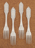 Silver Flatware, American:Other , A SET OF FOUR AMERICAN COIN SILVER DESSERT FORKS. Gale &Hayden, New York, New York, 1848. Marks: G & H, G &H (in lozen... (Total: 4 Items)