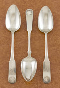 Silver Flatware, American:Other , A SET OF THREE COIN SILVER TABLE SPOONS. Unidentified makers, circa1860. Marks: E.B. & Co.; ZhN (in Cyrillic). 9in... (Total: 3 Items)
