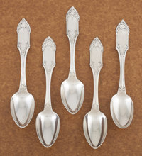 A SET OF FIVE AMERICAN COIN SILVER DESSERT SPOONS William Gale & Son, New York, New York, circa 1847 Marks: