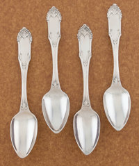 A SET OF FOUR AMERICAN COIN SILVER SERVING SPOONS William Gale & Son, New York, New York, circa 1847 Marks: