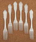 Silver & Vertu:Flatware, A SET OF SIX AMERICAN COIN SILVER DINNER FORKS. William Gale & Son, New York, New York, 1862. Marks: W. G. & S, G & S (... (Total: 6 Items)