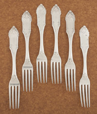 A SET OF SIX AMERICAN COIN SILVER DINNER FORKS William Gale & Son, New York, New York, 1862 Marks: W. G. & S