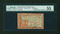 Colonial Notes:Pennsylvania, Pennsylvania April 10, 1777 16s Red and Black PMG AboutUncirculated 55....