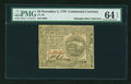 Colonial Notes:Continental Congress Issues, Continental Currency November 2, 1776 $4 PMG Choice Uncirculated 64EPQ....