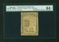 Colonial Notes:Pennsylvania, Pennsylvania October 1, 1773 50s PMG Choice Uncirculated 64 EPQ....