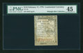 Colonial Notes:Continental Congress Issues, Continental Currency February 17, 1776 $1/6 PMG Choice ExtremelyFine 45....