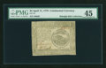 Colonial Notes:Continental Congress Issues, Continental Currency April 11, 1778 $4 PMG Choice Extremely Fine 45....