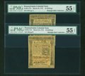 Colonial Notes:Pennsylvania, Pennsylvania March 25, 1775 16s Plate A & B PMG AboutUncirculated 55 EPQ.... (Total: 2 notes)