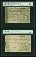 Colonial Notes:South Carolina, South Carolina June 1, 1775 £20 PMG Very Good 10 NET and £50 PMGVery Good 8 NET.... (Total: 2 notes)