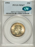 Washington Quarters: , 1954 25C MS67 PCGS. CAC. PCGS Population (32/0). NGC Census:(159/2). Mintage: 54,400,000. Numismedia Wsl. Price for NGC/PC...