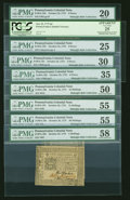 Colonial Notes:Pennsylvania, A Large Grouping of October 25, 1775 Pennsylvania Notes... (Total:9 notes)