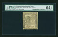 Colonial Notes:Pennsylvania, Pennsylvania October 25, 1775 9d PMG Choice Uncirculated 64 EPQ....