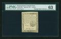 Colonial Notes:Pennsylvania, Pennsylvania April 20, 1781 6d PMG Choice Uncirculated 63....