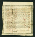 Colonial Notes:Continental Congress Issues, Commonwealth of Massachusetts Treasury Certificate at 6% InterestPayable in Four Installments £36, 3s April 1, 1782 Anderson ...
