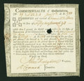 Colonial Notes:Continental Congress Issues, Commonwealth of Massachusetts Treasury Certificate at 6% Interest£5,28s,4d Jan. 1, 1782 Anderson MA 30. Very Fine....