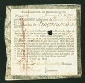 Colonial Notes:Continental Congress Issues, Commonwealth of Massachusetts Treasury Certificate at 6% Interest£9 Jan. 1, 1782 Anderson MA 31....