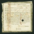 Colonial Notes:Continental Congress Issues, Commonwealth of Massachusetts Treasury Certificate at 6% Interest£15, 15s Jan. 1, 1782 Anderson MA 31. Very Fine....