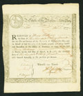 Colonial Notes:Continental Congress Issues, State of Massachusetts-Bay Treasury Certificate 6% Interest DueMarch 1, 1781 with Hurd's Sword-In-Hand Vignette. Anderson MA ...