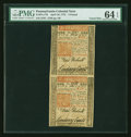 Colonial Notes:Pennsylvania, Pennsylvania April 10, 1775 £5 PMG Choice Uncirculated 64 EPQ UncutPair....