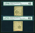 Colonial Notes:Pennsylvania, Three Nice Choice Uncirculated, October 25, 1775 Small ChangeNotes... (Total: 3 notes)