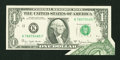 Error Notes:Foldovers, Fr. 1910-K $1 1977A Federal Reserve Note. Very Choice CrispUncirculated.. ...