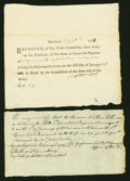 Colonial Notes:Continental Congress Issues, Connecticut Pay-Table-Committee Document £46, 8s, 9d Hartford July10, 1781 Unlisted in Anderson and an Affidavit of Revolutio...(Total: 2 items)