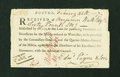 Colonial Notes:Continental Congress Issues, Shays' Rebellion-Related Fiscal Paper, Boston, Massachusetts £60Receipt February 28, 1787 Unlisted in Anderson. Extremely...