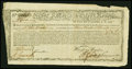 Colonial Notes:Continental Congress Issues, State of Massachusetts Bay Treasury Certificate at 6% Interest £900January 1, 1780. Anderson MA 22. Fine-Very Fine....
