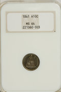 Seated Half Dimes: , 1861 H10C MS64 NGC. NGC Census: (124/88). PCGS Population (99/58).Mintage: 3,361,000. Numismedia Wsl. Price for NGC/PCGS c...