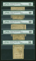 Colonial Notes:Pennsylvania, Light House Issue Grouping - Pennsylvania March 20, 1773....(Total: 5 notes)