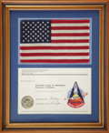 Explorers:Space Exploration, Space Shuttle Columbia (STS-1) Flown Large American Flag andEmbroidered Patch, Presented to and Originally from t...