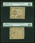 Colonial Notes:Continental Congress Issues, Continental Currency July 22, 1776 Pair.... (Total: 2 notes)