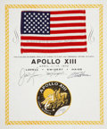 Explorers:Space Exploration, Apollo 13 Flown American Flag Directly from the Personal Collectionof Mission Commander James Lovell, Certified and Signed....